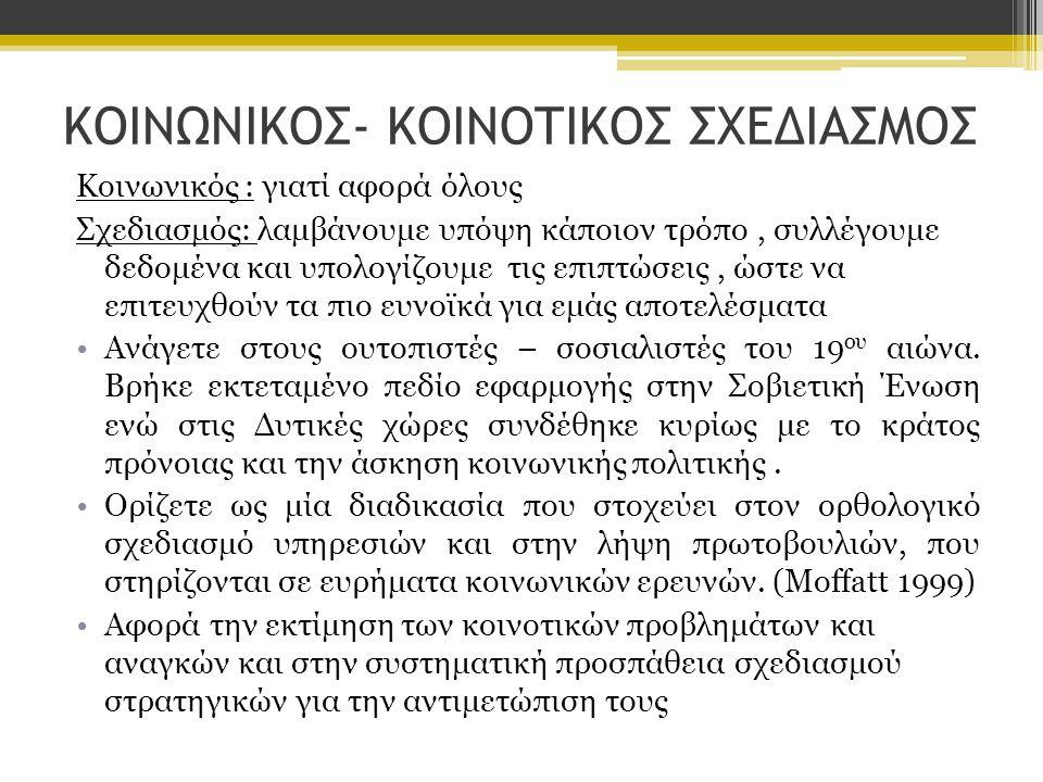 ΚΟΙΝΩΝΙΚΟΣ- ΚΟΙΝΟΤΙΚΟΣ ΣΧΕΔΙΑΣΜΟΣ