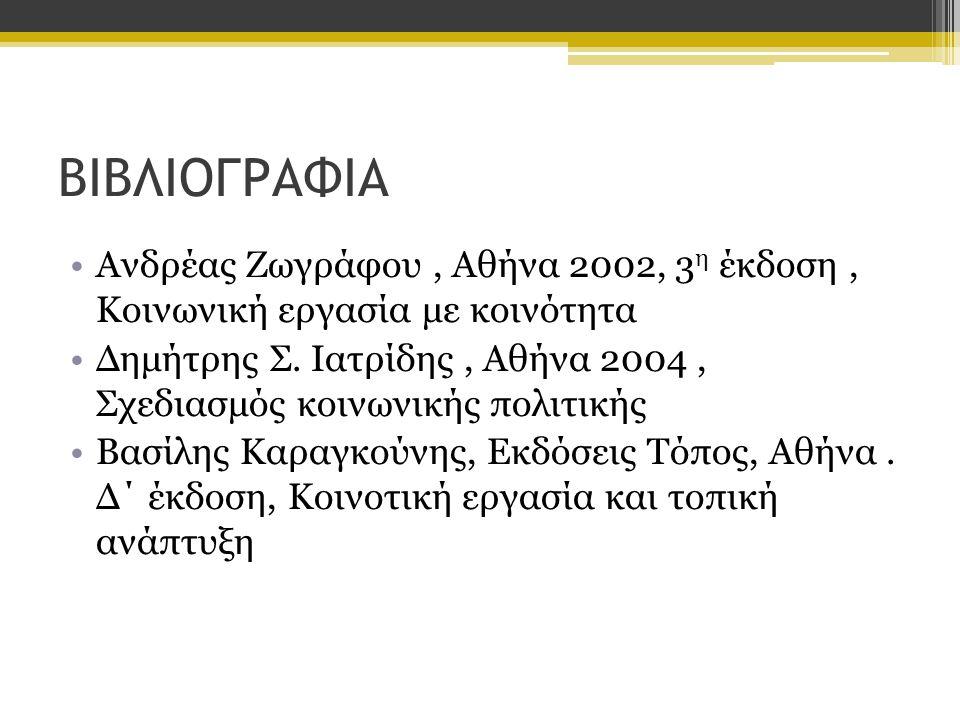 ΒΙΒΛΙΟΓΡΑΦΙΑ Ανδρέας Ζωγράφου , Αθήνα 2002, 3η έκδοση , Κοινωνική εργασία με κοινότητα.