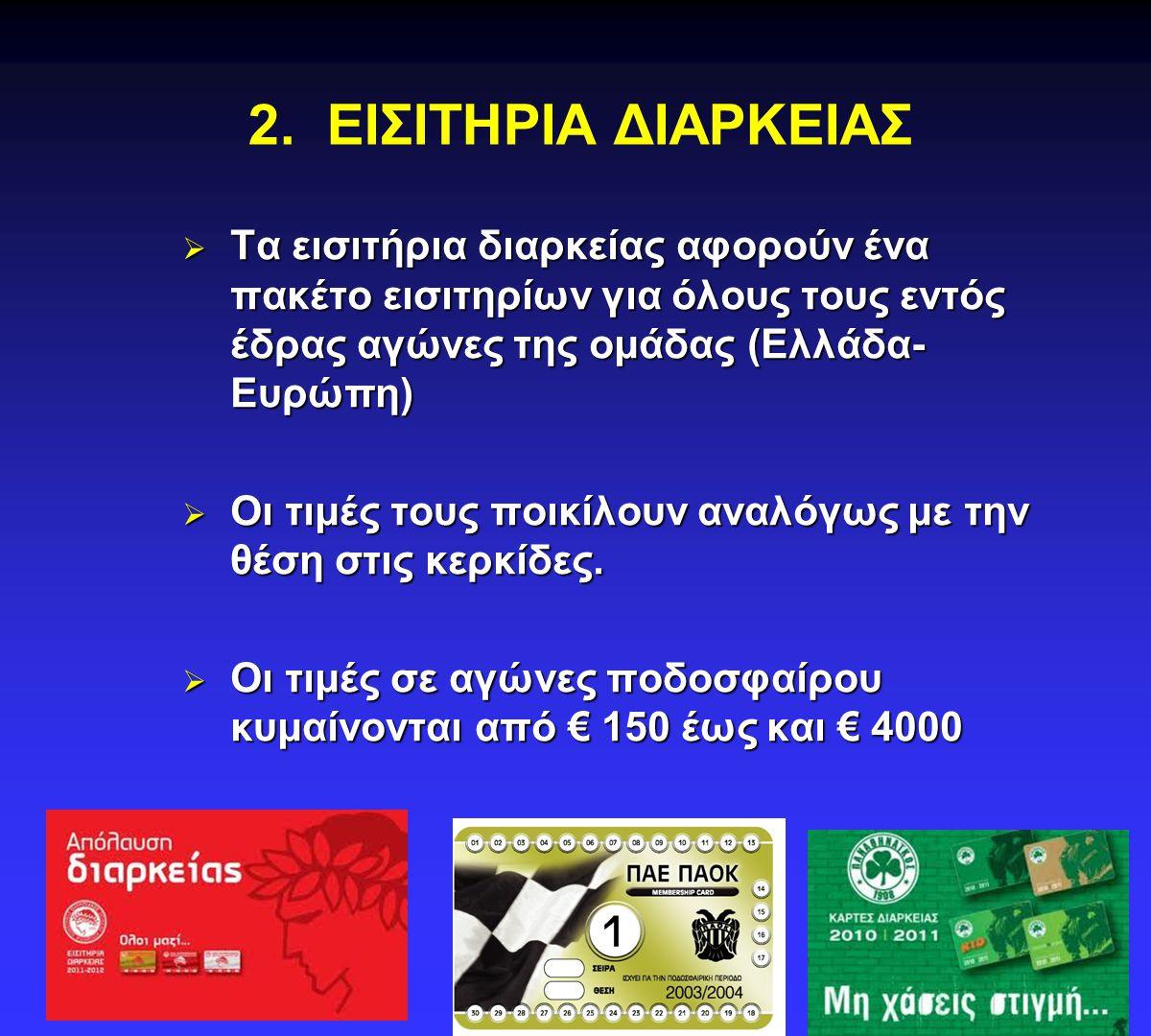 2. ΕΙΣΙΤΗΡΙΑ ΔΙΑΡΚΕΙΑΣ Τα εισιτήρια διαρκείας αφορούν ένα πακέτο εισιτηρίων για όλους τους εντός έδρας αγώνες της ομάδας (Ελλάδα-Ευρώπη)