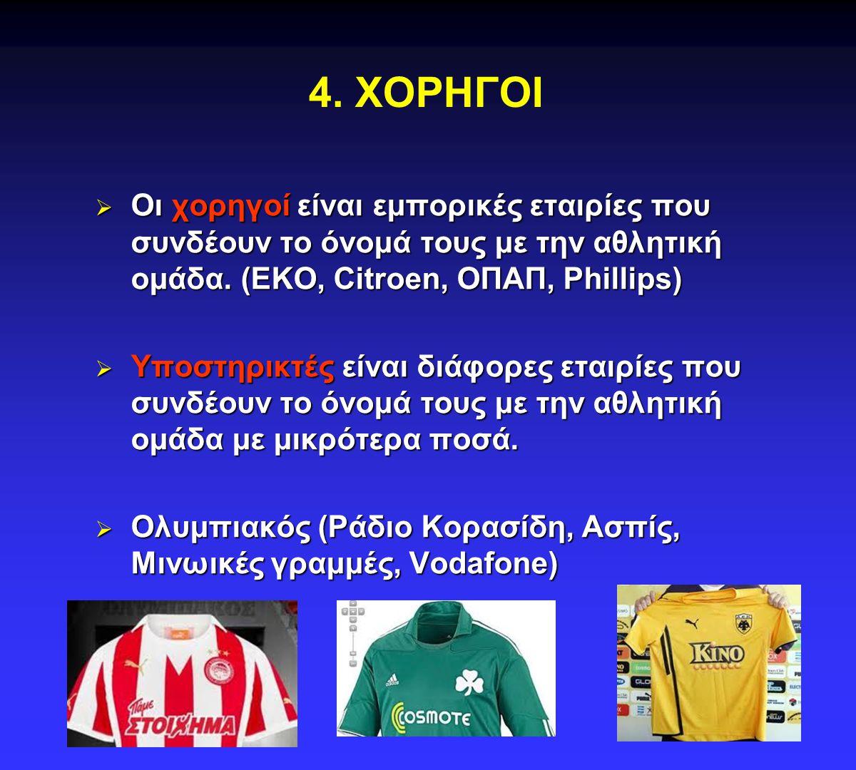 4. ΧΟΡΗΓΟΙ Οι χορηγοί είναι εμπορικές εταιρίες που συνδέουν το όνομά τους με την αθλητική ομάδα. (EKO, Citroen, ΟΠΑΠ, Phillips)