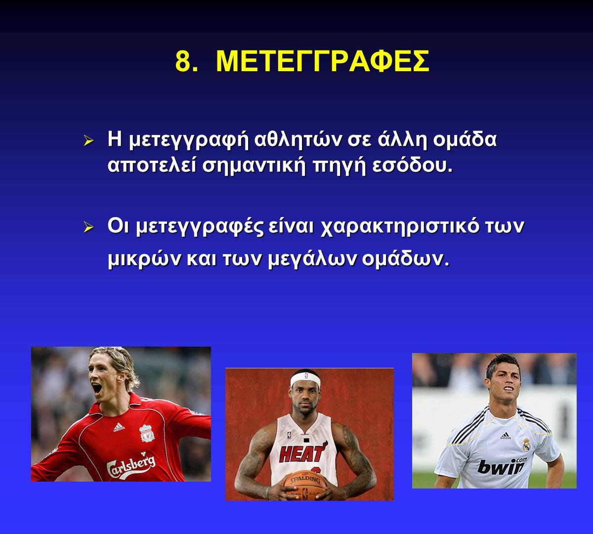 8. ΜΕΤΕΓΓΡΑΦΕΣ Η μετεγγραφή αθλητών σε άλλη ομάδα αποτελεί σημαντική πηγή εσόδου.