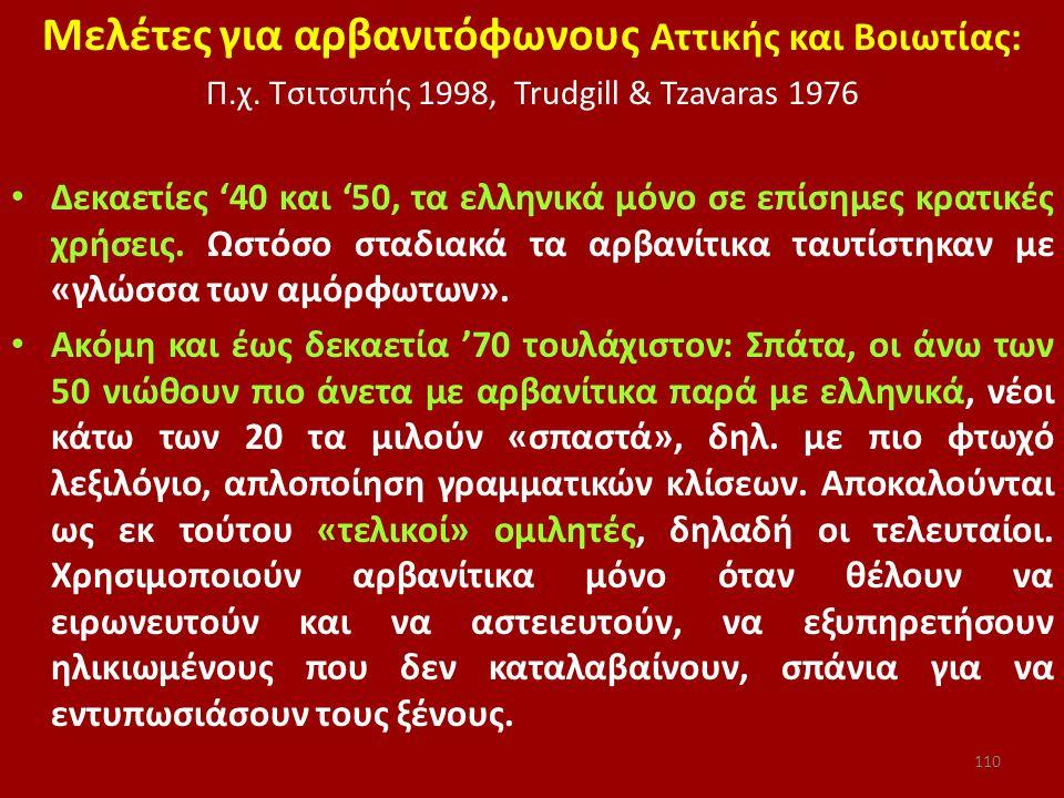 Μελέτες για αρβανιτόφωνους Αττικής και Βοιωτίας: