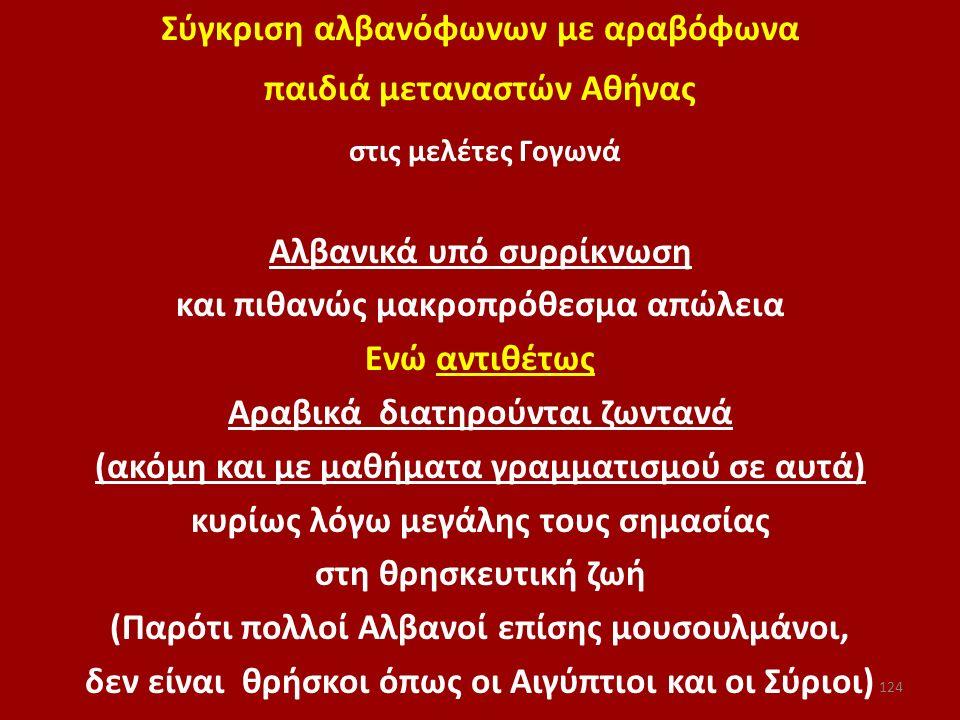 στις μελέτες Γογωνά Σύγκριση αλβανόφωνων με αραβόφωνα