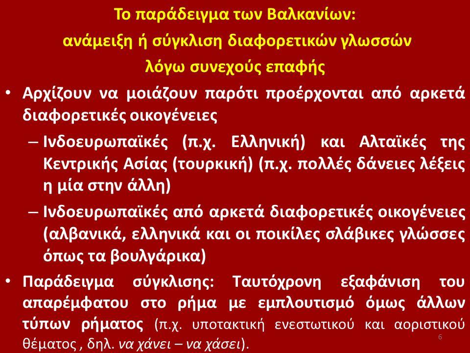 Το παράδειγμα των Βαλκανίων: ανάμειξη ή σύγκλιση διαφορετικών γλωσσών