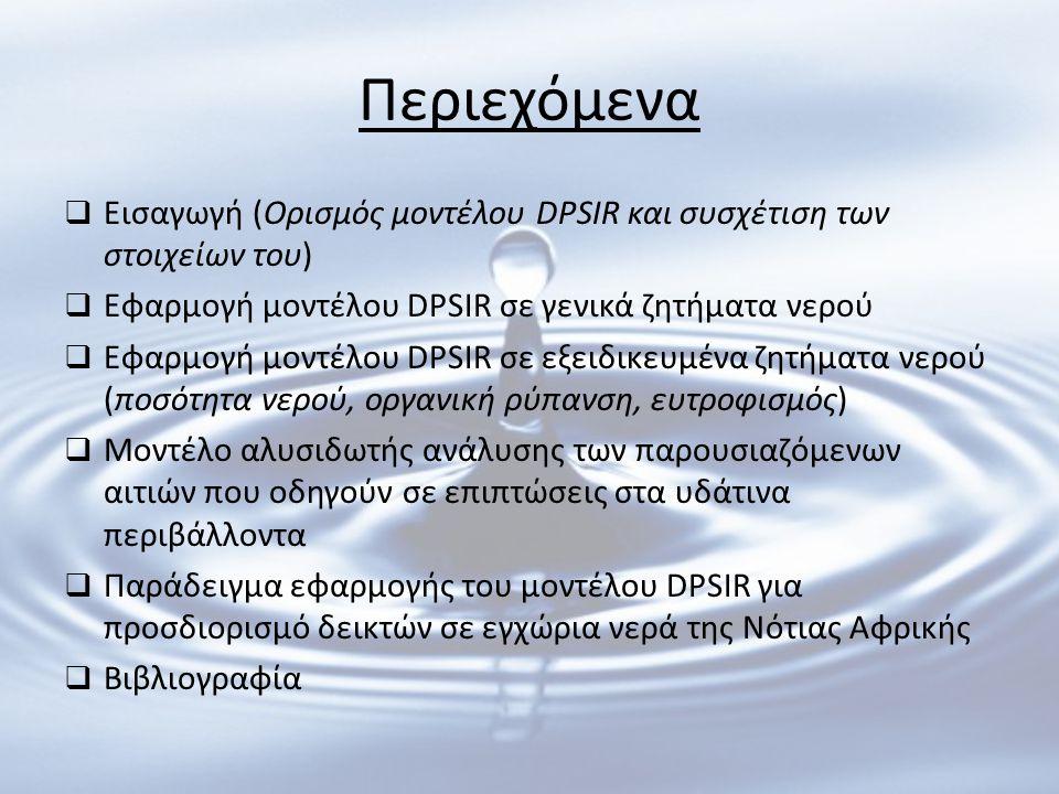 Περιεχόμενα Εισαγωγή (Ορισμός μοντέλου DPSIR και συσχέτιση των στοιχείων του) Εφαρμογή μοντέλου DPSIR σε γενικά ζητήματα νερού.
