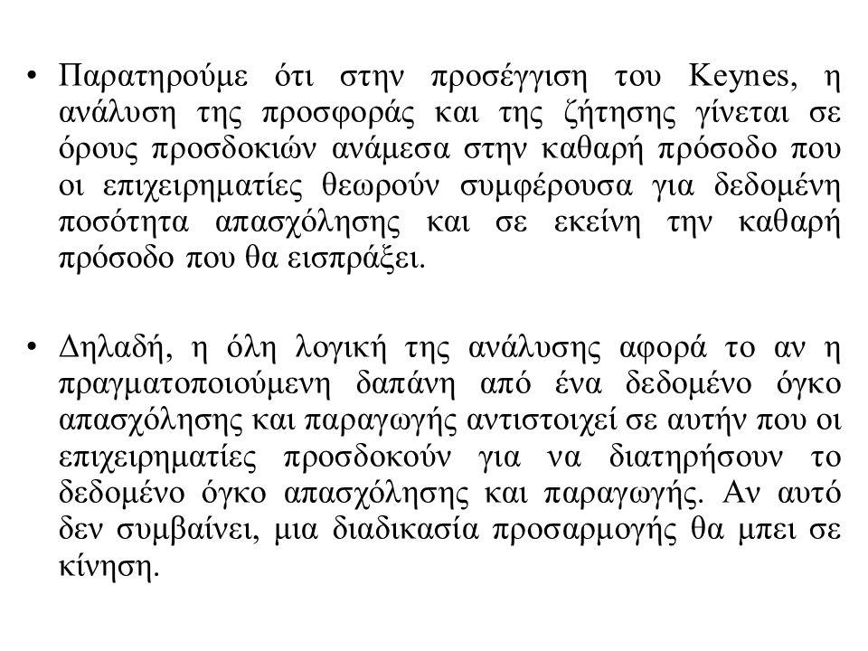 Παρατηρούμε ότι στην προσέγγιση του Keynes, η ανάλυση της προσφοράς και της ζήτησης γίνεται σε όρους προσδοκιών ανάμεσα στην καθαρή πρόσοδο που οι επιχειρηματίες θεωρούν συμφέρουσα για δεδομένη ποσότητα απασχόλησης και σε εκείνη την καθαρή πρόσοδο που θα εισπράξει.
