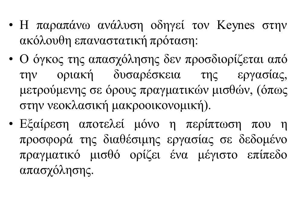 Η παραπάνω ανάλυση οδηγεί τον Keynes στην ακόλουθη επαναστατική πρόταση: