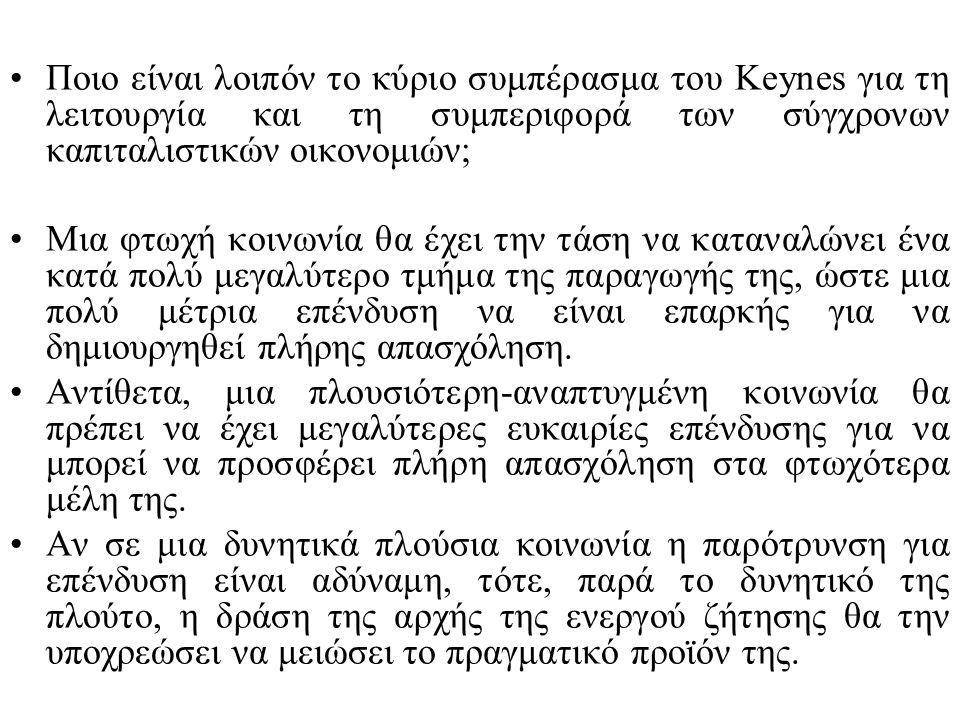 Ποιο είναι λοιπόν το κύριο συμπέρασμα του Keynes για τη λειτουργία και τη συμπεριφορά των σύγχρονων καπιταλιστικών οικονομιών;