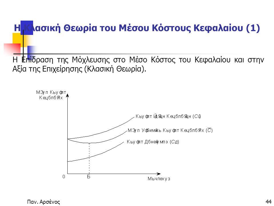 Η Κλασική Θεωρία του Μέσου Κόστους Κεφαλαίου (1)