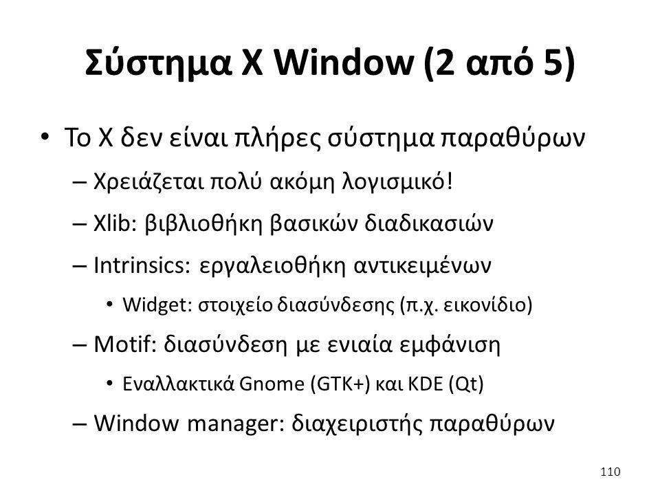 Σύστημα X Window (2 από 5) Το X δεν είναι πλήρες σύστημα παραθύρων
