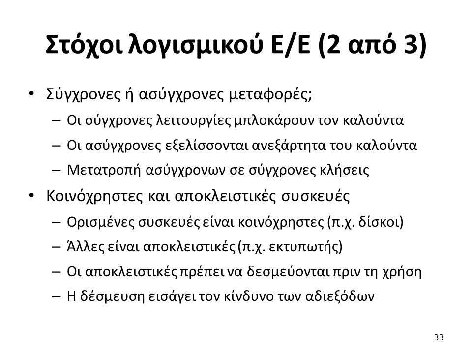 Στόχοι λογισμικού Ε/Ε (2 από 3)