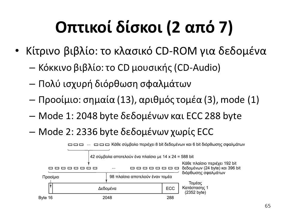 Οπτικοί δίσκοι (2 από 7) Κίτρινο βιβλίο: το κλασικό CD-ROM για δεδομένα. Κόκκινο βιβλίο: το CD μουσικής (CD-Audio)
