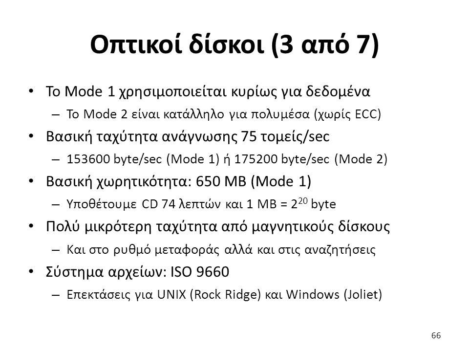 Οπτικοί δίσκοι (3 από 7) Το Mode 1 χρησιμοποιείται κυρίως για δεδομένα