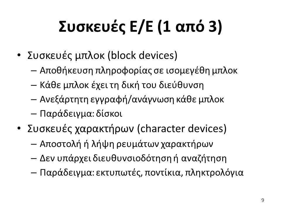 Συσκευές Ε/Ε (1 από 3) Συσκευές μπλοκ (block devices)