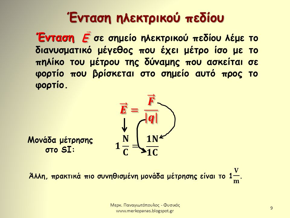 Ένταση ηλεκτρικού πεδίου Μονάδα μέτρησης στο SI: