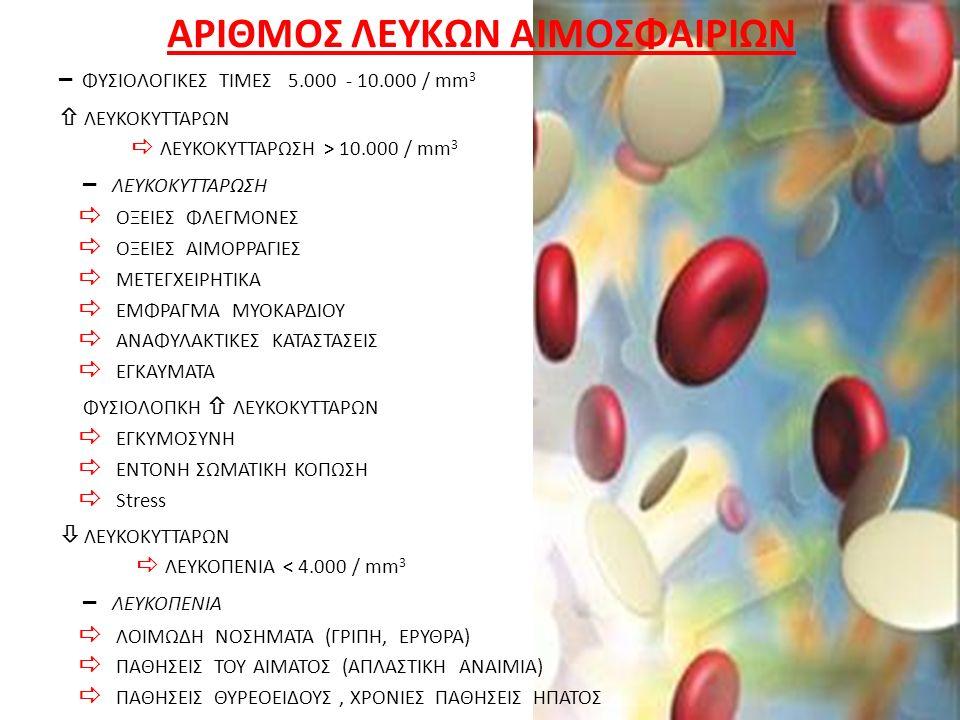 ΑΡΙΘΜΟΣ ΛΕΥΚΩΝ ΑΙΜΟΣΦΑΙΡΙΩΝ