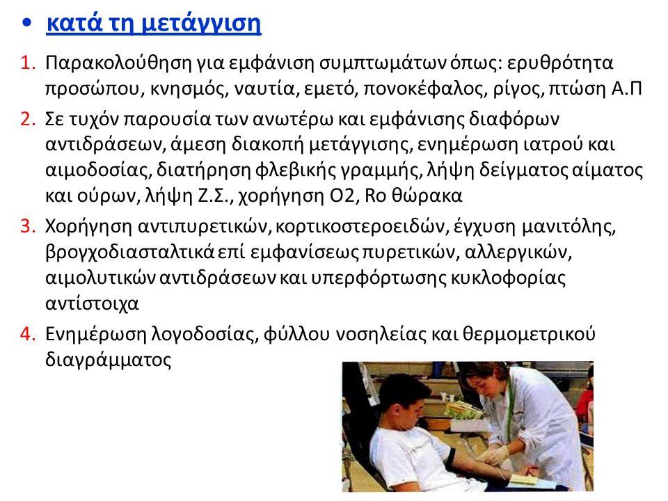 κατά τη μετάγγιση Παρακολούθηση για εμφάνιση συμπτωμάτων όπως: ερυθρότητα προσώπου, κνησμός, ναυτία, εμετό, πονοκέφαλος, ρίγος, πτώση Α.Π.