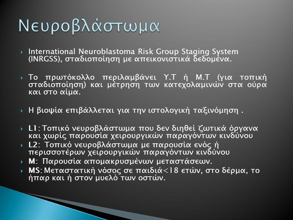 Νευροβλάστωμα International Neuroblastoma Risk Group Staging System (INRGSS), σταδιοποίηση με απεικονιστικά δεδομένα.