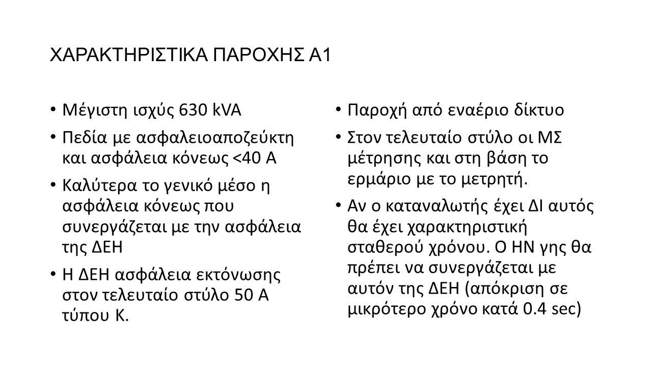 XΑΡΑΚΤΗΡΙΣΤΙΚΑ ΠΑΡΟΧΗΣ Α1