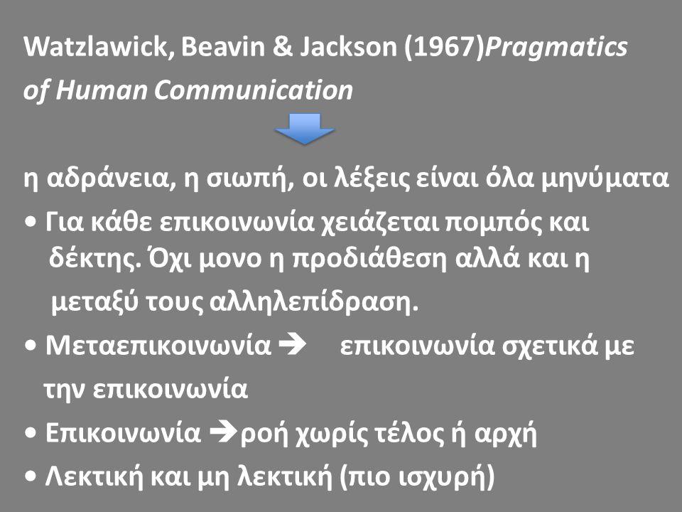 Watzlawick, Beavin & Jackson (1967)Pragmatics of Human Communication η αδράνεια, η σιωπή, οι λέξεις είναι όλα μηνύματα • Για κάθε επικοινωνία χειάζεται πομπός και δέκτης.