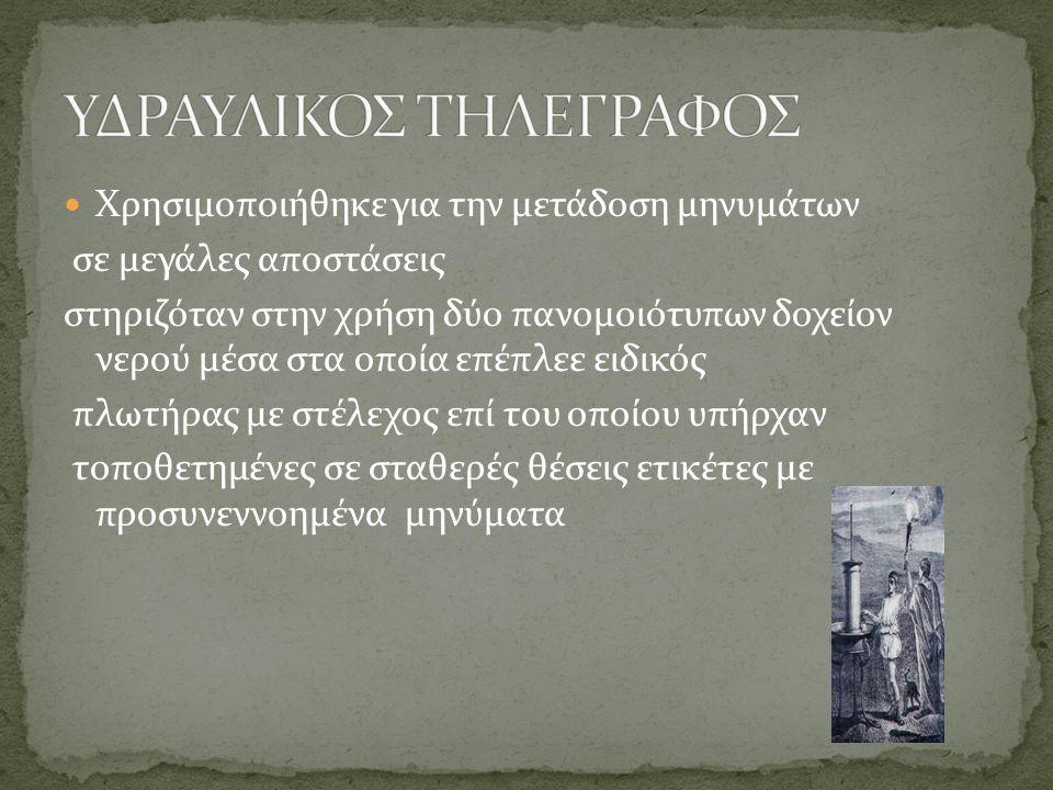 ΥΔΡΑΥΛΙΚΟΣ ΤΗΛΕΓΡΑΦΟΣ