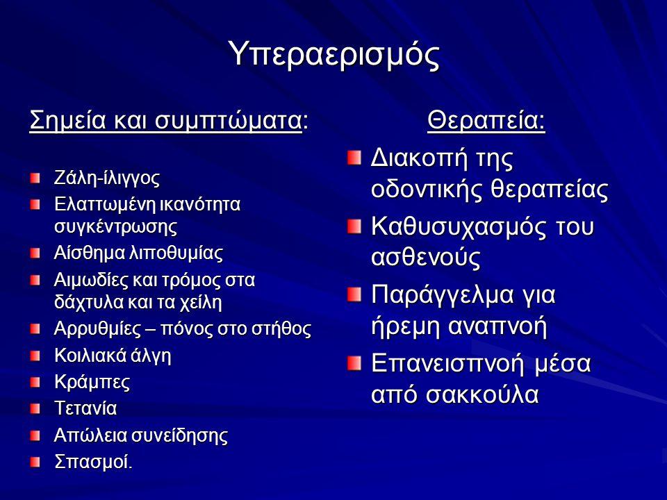 Υπεραερισμός Σημεία και συμπτώματα: Θεραπεία:
