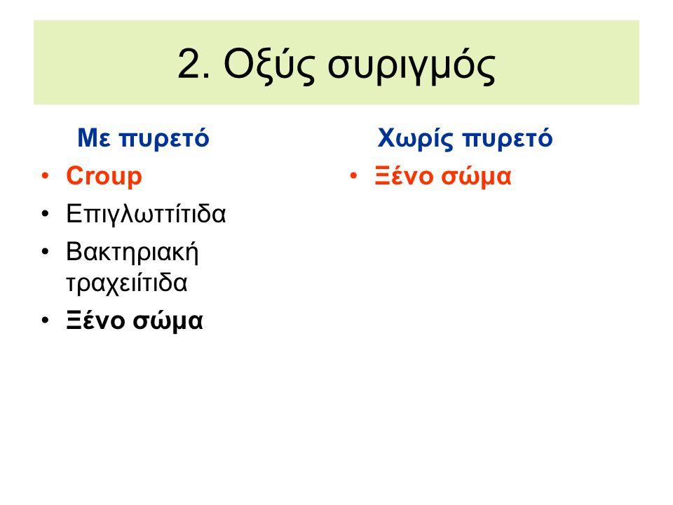 2. Οξύς συριγμός Με πυρετό Croup Επιγλωττίτιδα Βακτηριακή τραχειίτιδα