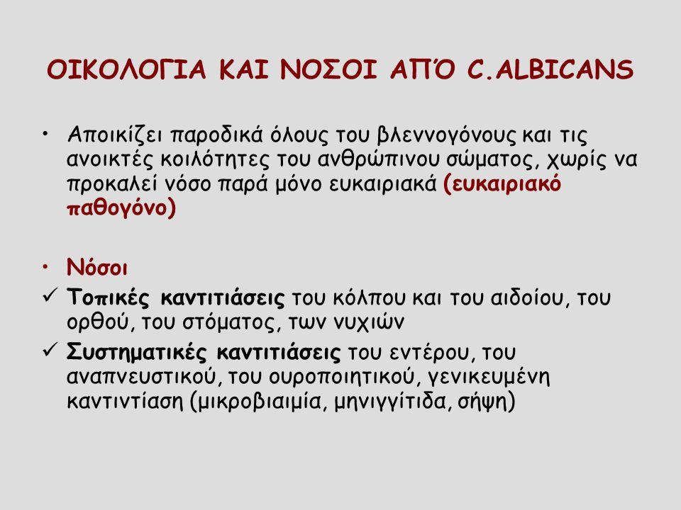 ΟΙΚΟΛΟΓΙΑ ΚΑΙ ΝΟΣΟΙ ΑΠΌ C.ALBICANS