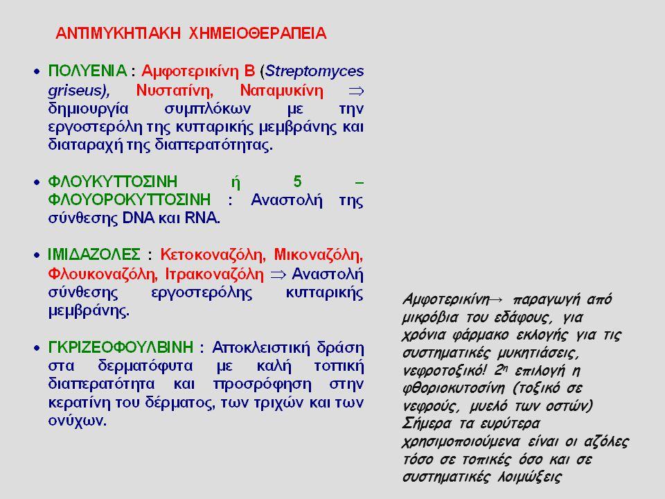 Αμφοτερικίνη→ παραγωγή από μικρόβια του εδάφους, για χρόνια φάρμακο εκλογής για τις συστηματικές μυκητιάσεις, νεφροτοξικό! 2η επιλογή η φθοριοκυτοσίνη (τοξικό σε νεφρούς, μυελό των οστών)