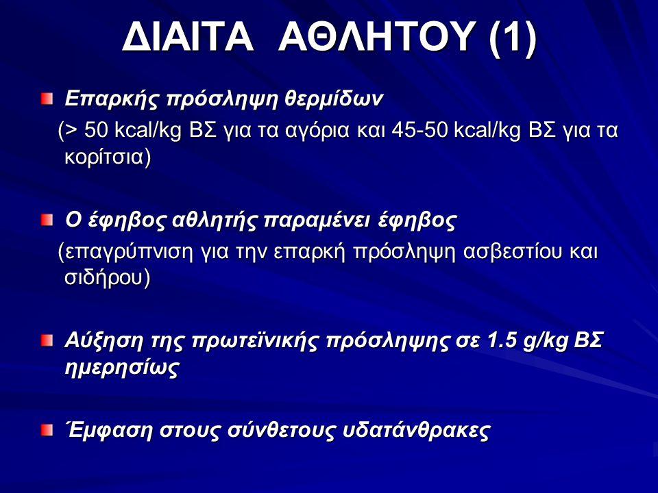 ΔΙΑΙΤΑ ΑΘΛΗΤΟΥ (1) Επαρκής πρόσληψη θερμίδων