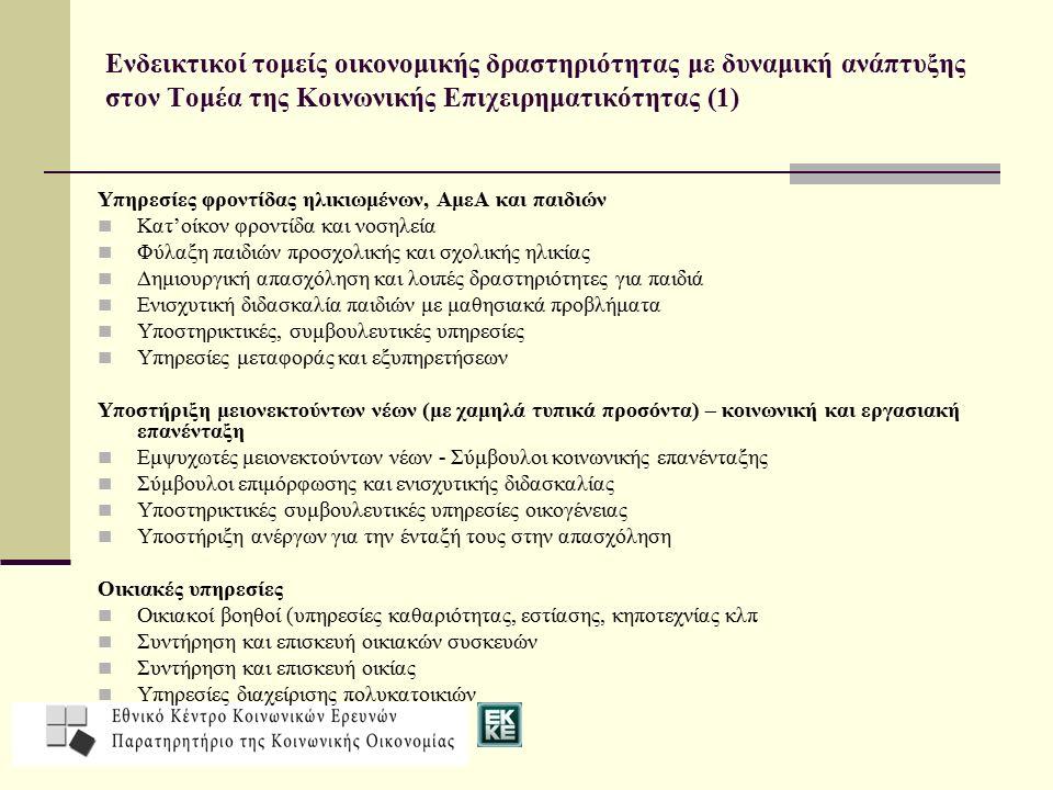 Ενδεικτικοί τομείς οικονομικής δραστηριότητας με δυναμική ανάπτυξης στον Τομέα της Κοινωνικής Επιχειρηματικότητας (1)