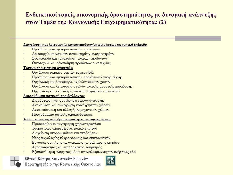 Ενδεικτικοί τομείς οικονομικής δραστηριότητας με δυναμική ανάπτυξης στον Τομέα της Κοινωνικής Επιχειρηματικότητας (2)