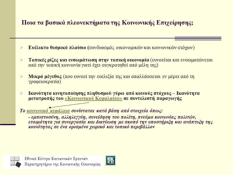 Ποια τα βασικά πλεονεκτήματα της Κοινωνικής Επιχείρησης;