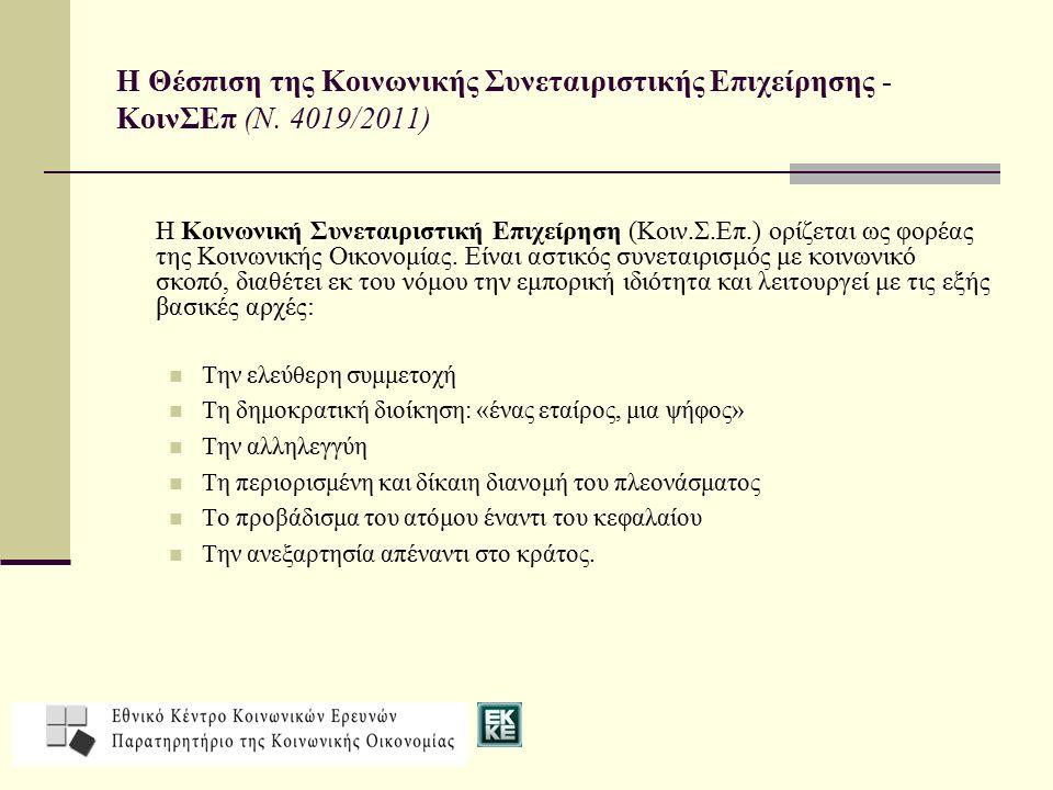 Η Θέσπιση της Κοινωνικής Συνεταιριστικής Επιχείρησης - ΚοινΣΕπ (Ν