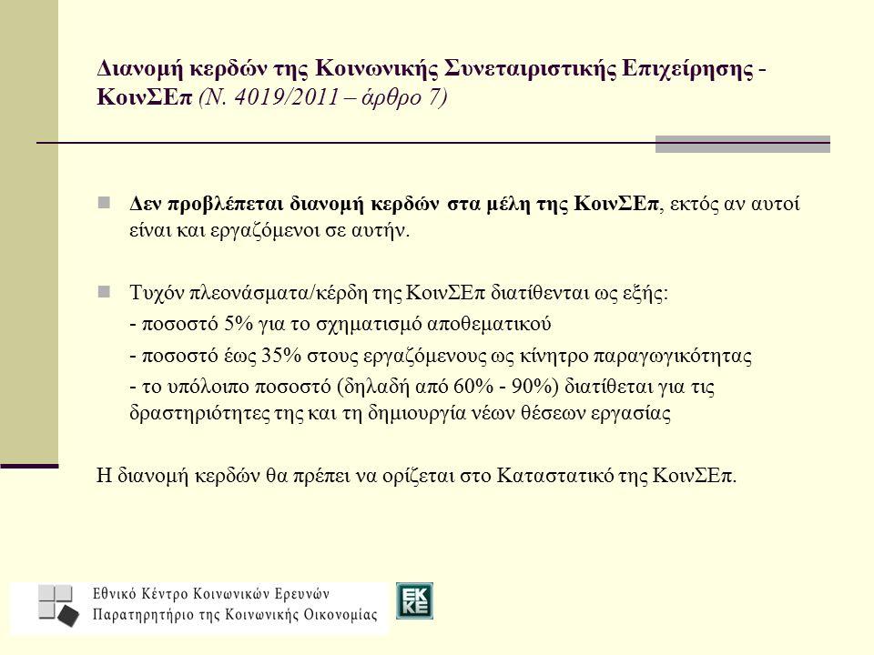 Διανομή κερδών της Κοινωνικής Συνεταιριστικής Επιχείρησης - ΚοινΣΕπ (Ν