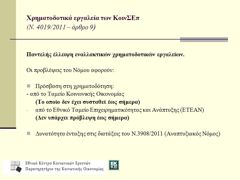 Χρηματοδοτικά εργαλεία των ΚοινΣΕπ (Ν. 4019/2011 – άρθρο 9)