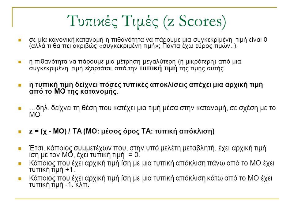 Τυπικές Τιμές (z Scores)