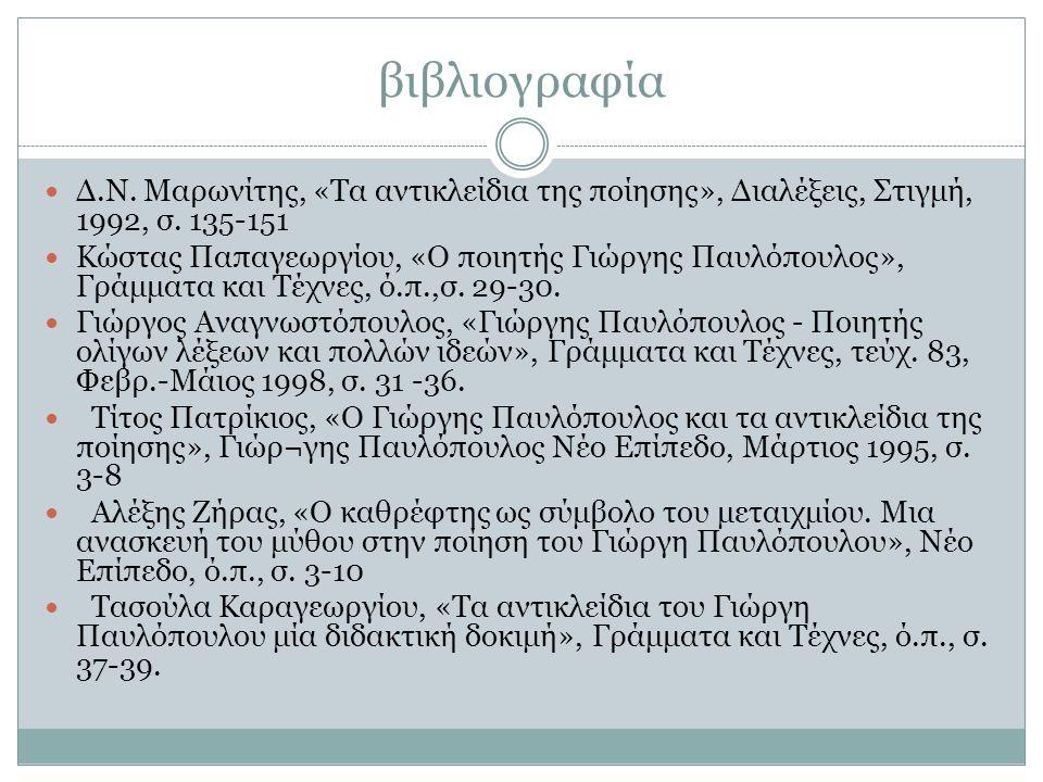 βιβλιογραφία Δ.Ν. Μαρωνίτης, «Τα αντικλείδια της ποίησης», Διαλέξεις, Στιγμή, 1992, σ. 135-151.