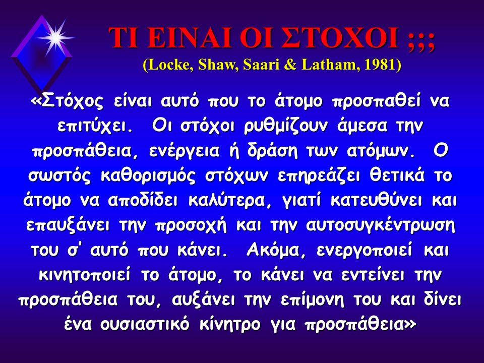 ΤΙ ΕΙΝΑΙ ΟΙ ΣΤΟΧΟΙ ;;; (Locke, Shaw, Saari & Latham, 1981)