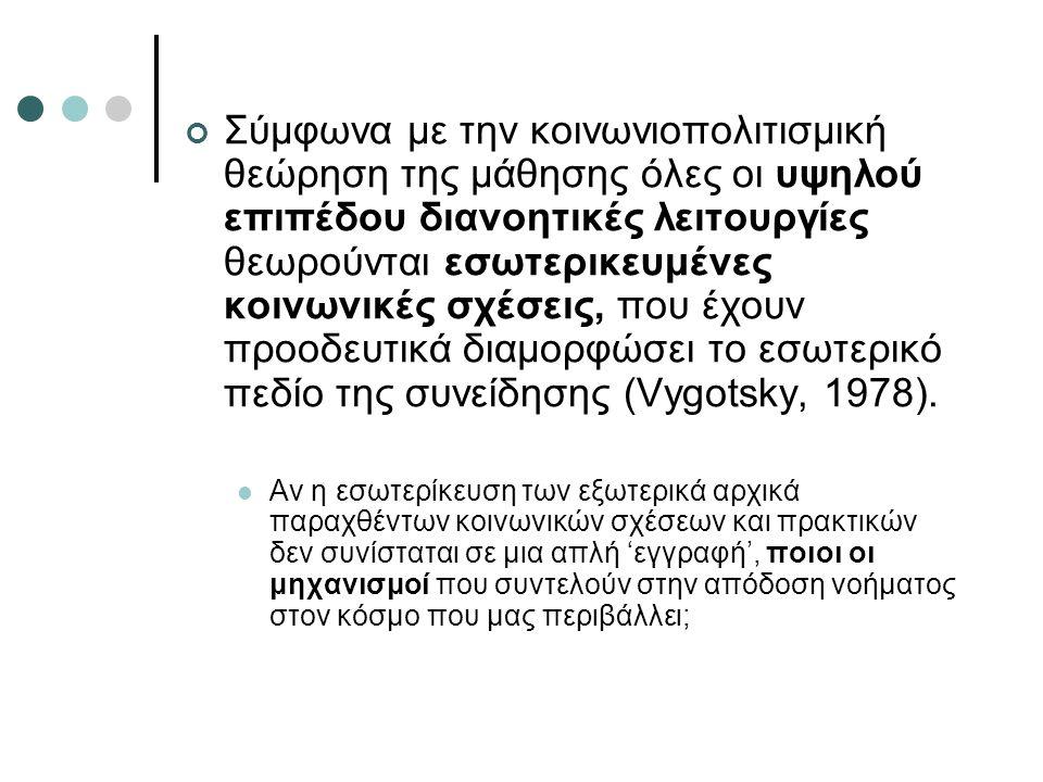Σύμφωνα με την κοινωνιοπολιτισμική θεώρηση της μάθησης όλες οι υψηλού επιπέδου διανοητικές λειτουργίες θεωρούνται εσωτερικευμένες κοινωνικές σχέσεις, που έχουν προοδευτικά διαμορφώσει το εσωτερικό πεδίο της συνείδησης (Vygotsky, 1978).