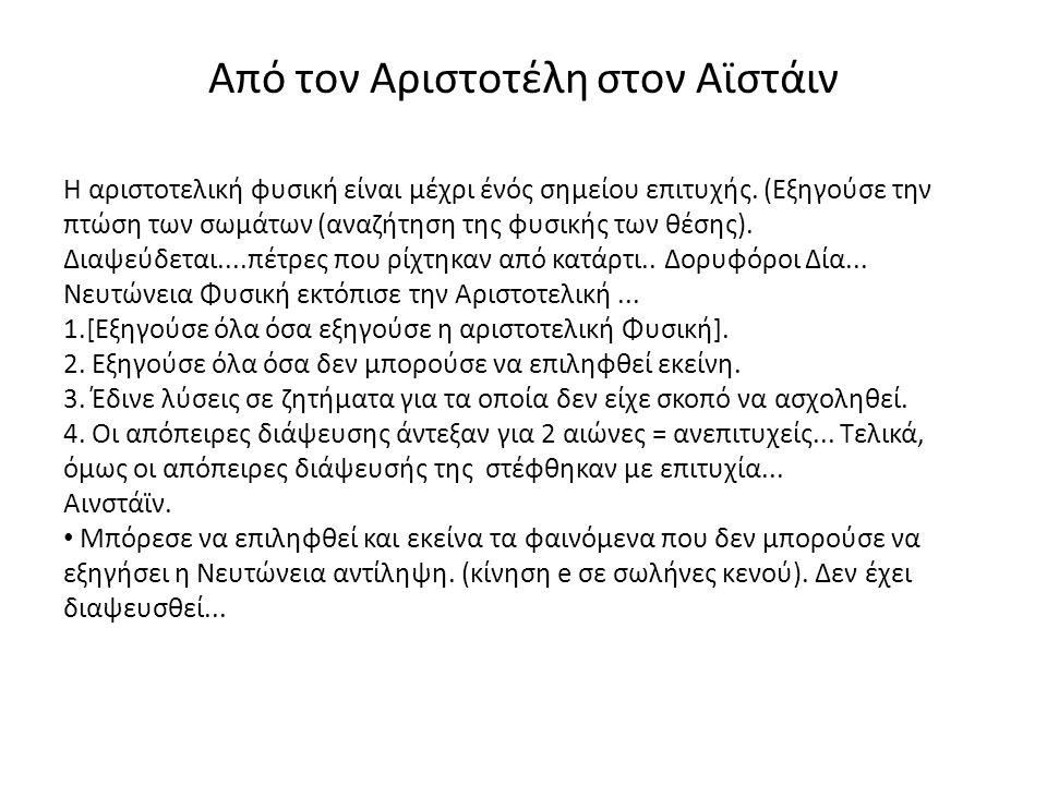 Από τον Αριστοτέλη στον Αϊστάιν