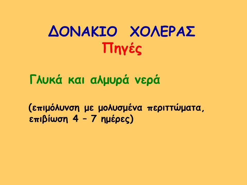 ΔΟΝΑΚΙΟ ΧΟΛΕΡΑΣ Πηγές επιβίωση 4 – 7 ημέρες)