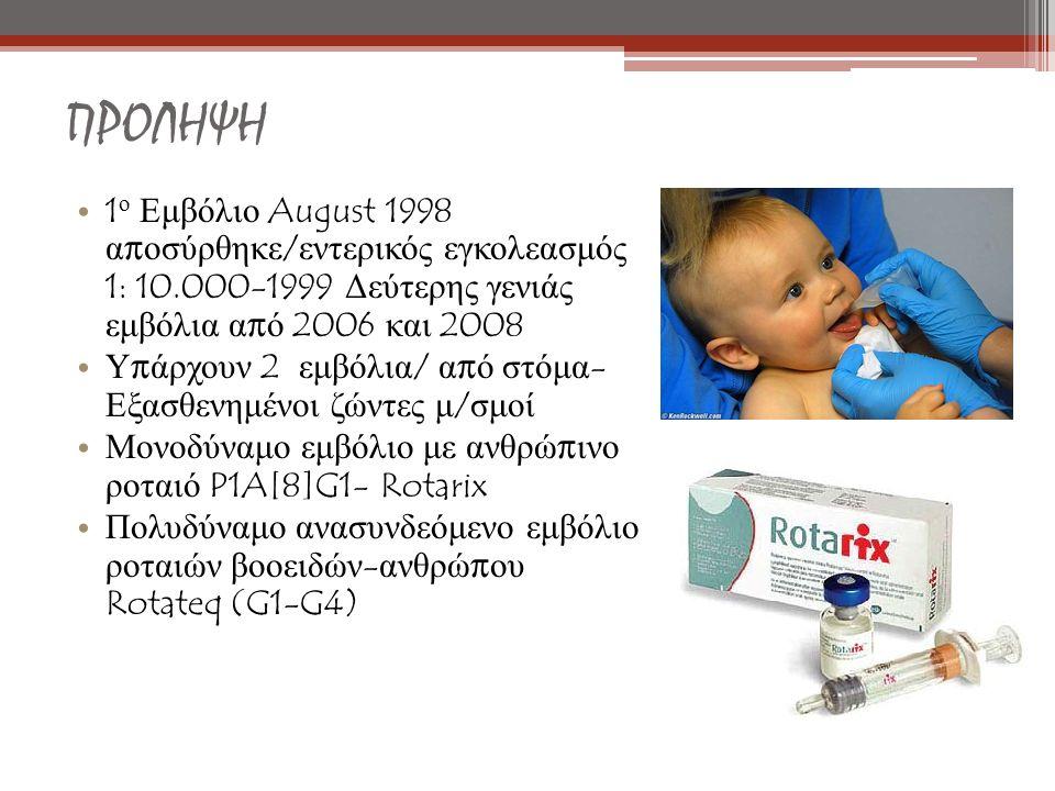 ΠΡΟΛΗΨΗ 1ο Εμβόλιο August 1998 αποσύρθηκε/εντερικός εγκολεασμός 1: 10.000-1999 Δεύτερης γενιάς εμβόλια από 2006 και 2008.