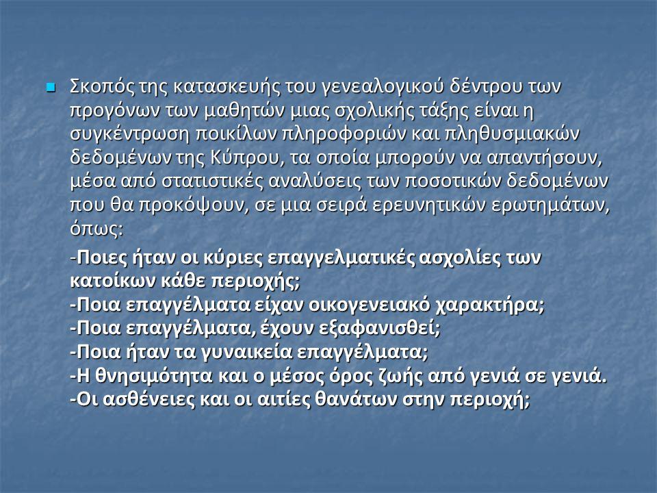 Σκοπός της κατασκευής του γενεαλογικού δέντρου των προγόνων των μαθητών μιας σχολικής τάξης είναι η συγκέντρωση ποικίλων πληροφοριών και πληθυσμιακών δεδομένων της Κύπρου, τα οποία μπορούν να απαντήσουν, μέσα από στατιστικές αναλύσεις των ποσοτικών δεδομένων που θα προκόψουν, σε μια σειρά ερευνητικών ερωτημάτων, όπως: