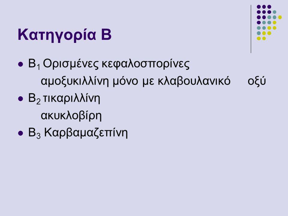 Κατηγορία Β Β1 Ορισμένες κεφαλοσπορίνες
