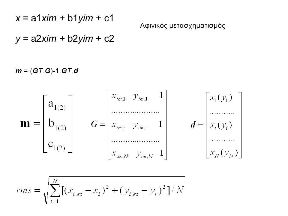 x = a1xim + b1yim + c1 y = a2xim + b2yim + c2 Αφινικός μετασχηματισμός