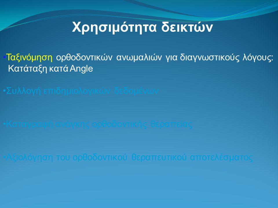 Χρησιμότητα δεικτών Ταξινόμηση ορθοδοντικών ανωμαλιών για διαγνωστικούς λόγους: Κατάταξη κατά Angle.