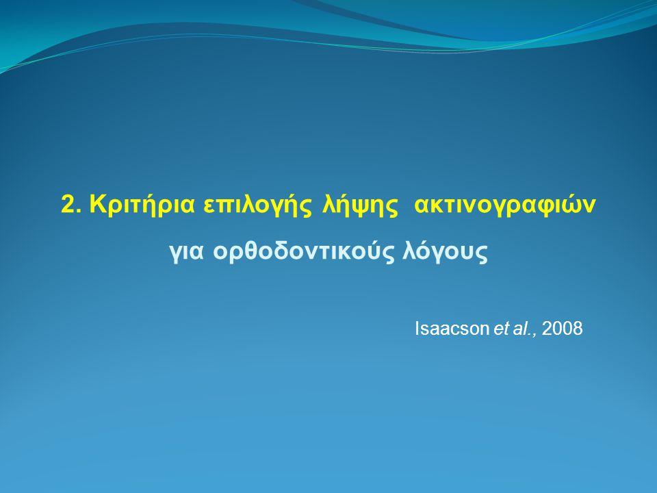 2. Κριτήρια επιλογής λήψης ακτινογραφιών για ορθοδοντικούς λόγους