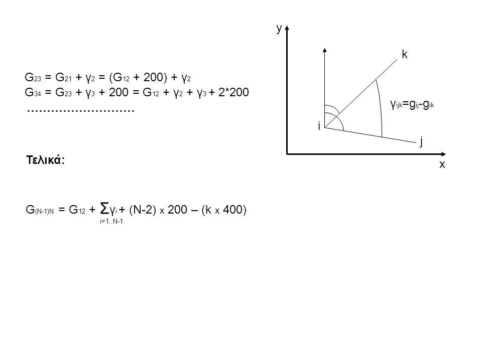 G(Ν-1)Ν = G12 + Σγi + (Ν-2) x 200 – (k x 400) x