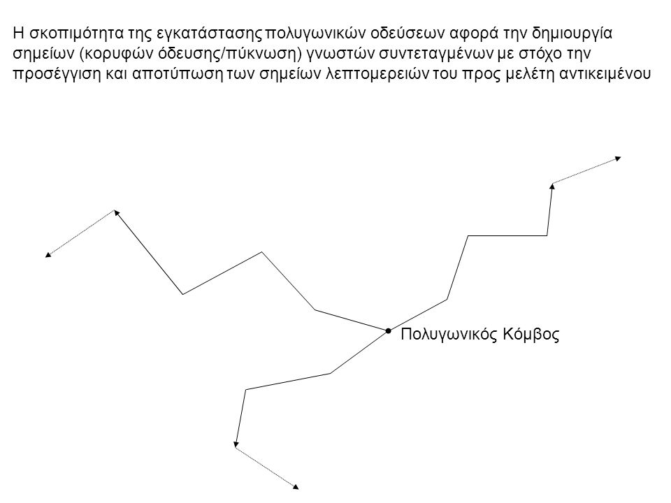 Η σκοπιμότητα της εγκατάστασης πολυγωνικών οδεύσεων αφορά την δημιουργία σημείων (κορυφών όδευσης/πύκνωση) γνωστών συντεταγμένων με στόχο την προσέγγιση και αποτύπωση των σημείων λεπτομερειών του προς μελέτη αντικειμένου